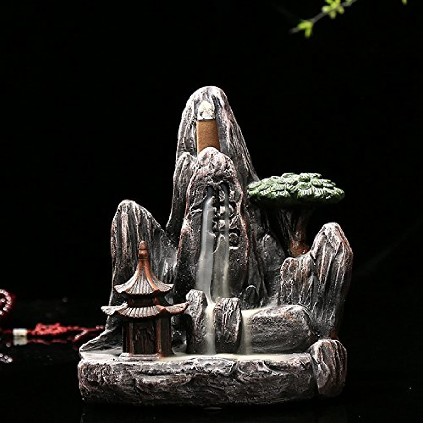 試みる誘惑する知的omonic Zen Garden Mountain Stream Backflow手作り樹脂Incense Holder Burner、アロマセラピー炉Diffuser forホームインテリア