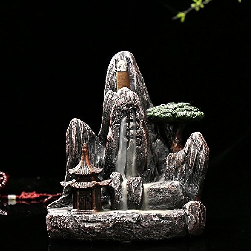 不正直無駄だ質素なomonic Zen Garden Mountain Stream Backflow手作り樹脂Incense Holder Burner、アロマセラピー炉Diffuser forホームインテリア
