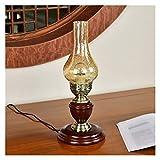 Lámpara de mesita de noche Lámpara Retro Nostalgia Pequeño Base de la mesa de madera maciza, agrietado pantalla de cristal tradicional de noche dormitorio lámpara de mesa Art Deco de la linterna for e