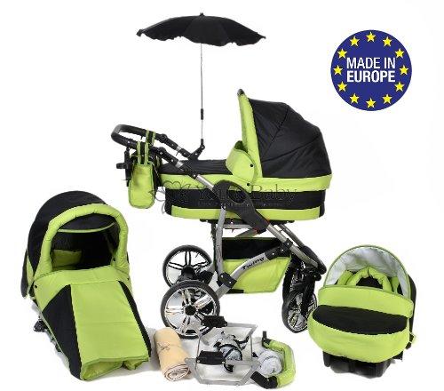 Twing - Landau pour bébé + Siège Auto - Poussette - Système 3en1 + Accessoires (Système 3en1, vert)