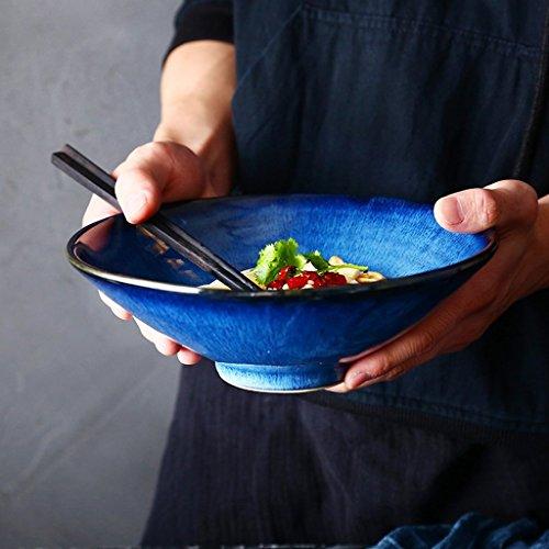 Gweat Kreative American Style Keramik Schüssel Retro Geschirr Nudeln Obstsalat Ramen Suppe Große Schüssel (Farbe : 2)
