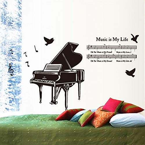 Große Größe Klavier 3D Vögel Wandaufkleber für Kinderzimmer Wandtattoos Musik ist mein Leben Poster Home Decor Vinyl Kunst Wandbild