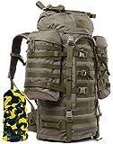 Wisport Bug Out Bag Damen & Herren | Prepper Rucksack für Frauen Männer | BOB Backpack | Go Bag | Überlebensrucksack | Fluchtrucksack groß | Cordura | Wildcat 65 L + Ultrapower Halstuch; RAL-7013