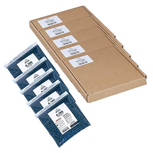 ARSUK Balines de Airsoft, Munición Bolas de Paintball 6mm, 0.20g de Alto Grado Precision de plástico Cantidades; 2000, 4000, 5000, 10,000 Balines(0,20g 10000 Pellets - Negro)