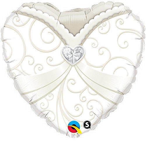 Folieballon Just Married trouwjurk wit crème klein ca. 46 cm ongevuld (geschikt voor ballongas).