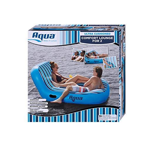"Aqua Ultra Comfort Pool Lounger, Lake Raft, Two 2-Person Lake-Ocean-Pool Float, Heavy Duty, X-Large, Navy/White Stripe, 64"" x 53"" (162 cm x 135 cm), B07P83G3F6"