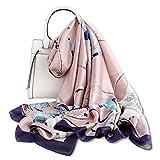 LumiSyne Bufanda De Seda Mujer Fulares Estampada Vintage Estilo Moda Chal Cuadrado Grande Estolas Protector Solar Pañuelo Bufanda De Cuello Toda La Temporada