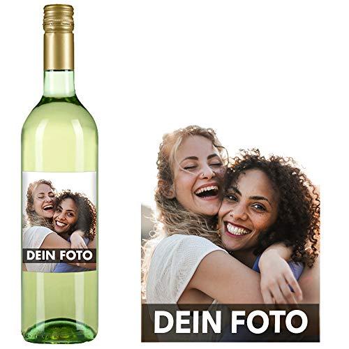 Eventwein Weißwein individuell gestalten - Personalisiertes Geschenk zur Hochzeit, zum Geburtstag oder zu Weihnachten - optional mit Geschenkverpackung (Grauer Burgunder, Dein Foto)