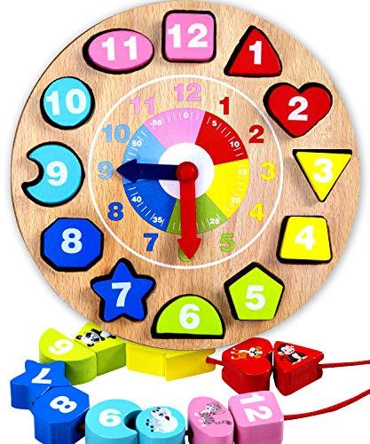 Jaques of London Lernuhr Holz | Holzspielzeug Lernuhr | Perfekt Spielzeug ab 1 2 3 Jahre | Viel Spaß beim Lernen mit Montessori Spielzeug | Seit 1795