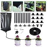 Set de riego por goteo, sistema de riego automático de 33 pies para plantas, sistemas de riego de jardín ajustables con bolsa de agua de 10L, volumen de goteo para vacaciones en interiores controlable