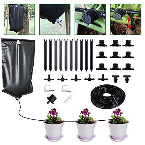 Set de riego por goteo, sistema de riego automático de 33 pies para plantas, sistemas de riego de...