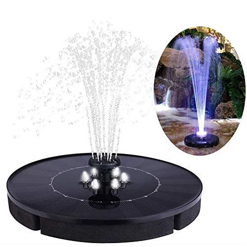 KKmoon 2,5 W Solar Springbrunnen mit 4 Sprühköpfen Brunnen Schwimmender Außenpool Rundbrunnen Solarenergie Wiederaufladbarer Gartenhof Fischteich Wasserpumpe Geysir mit 6 LED Lichtern