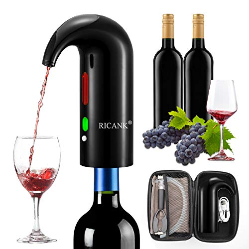 RICANK Electric Wine Aerator, Wine Pourer Portable One-Touch Wine Decanter and Wine Dispenser Pump for Red and White Wine Multi-Smart Automatic Wine Oxidizer Dispenser Rechargeable Spout Pourer