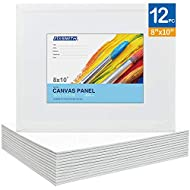 FIXSMITH-Painting-Canvas-Panels,8x10 Inch Canvas Board Super Value 12 Pack Canvases,100% Cotton,Primed Canvas Panel,Acid Free,Artist Canvas Boards for Professionals,Hobby Painters,Students & Kids.
