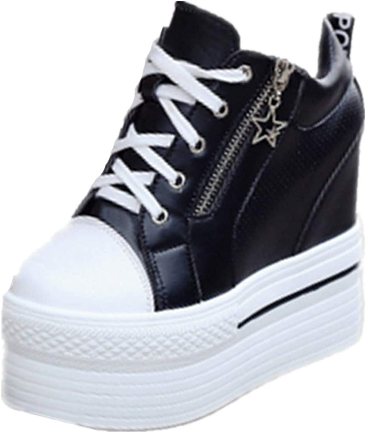 Btrada Women Platform Zipper Wedge Sneakers Waterproof Thick High Heel Increased Casual shoes