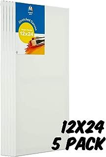 Markin Arts Vogue 系列瑞典松木酸/无色 * 纯棉中等重量 283.50 克三重钛亚克力石涂漆垂直水平拉伸帆布油画 30.48x60.96cm 白色 5 件装 CVV-1224-5P