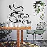 Tianpengyuanshuai Creative I Love Coffee Kitchen Room Etiqueta de la Pared removible Vinyl Mural Wall Decal 45X196cm