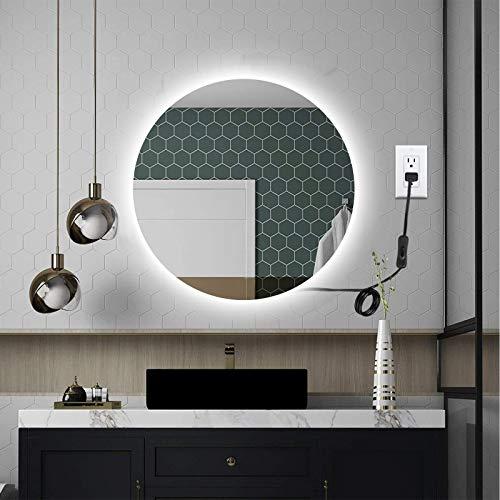 OOWOLF Espejo LED para baño, 24 W, espejo de tocador redondo 5000 K, montado en la pared, espejo de maquillaje con luces