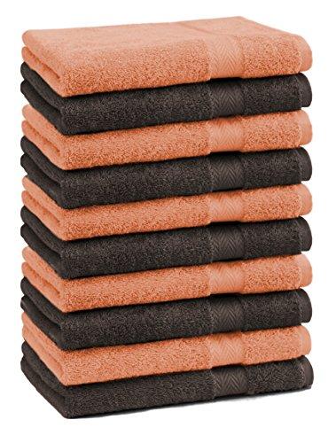 Betz Paquete de 10 Piezas de Toalla Facial Premium tamaño 30x30cm 100% algodón en Naranja y marrón Oscuro