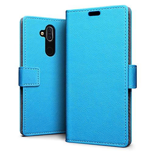 SLEO Hülle für Nokia 8.1/Nokia X7,PU Leder Hülle Cover Tasche Schutzhülle Flip Hülle Wallet im Bookstyle für Nokia 8.1/Nokia X7 Hülle- Blau