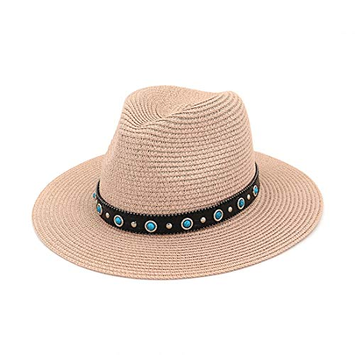 Fashion Straw Hat Party Garden Travel Women's Wide Floppy Brim Summer Beach Sun Hat Styling (Color : Black, Size : Adjustable)