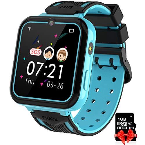 Reloj Inteligente para Niños blue, Smart Watch con Reproductor de MúSica SOS Linterna Cámara 7 Juegos Y Reproductor de MúSica, Reloj de Pulsera Digital para Niños De 3-12 Años Tarjeta SD Incluida