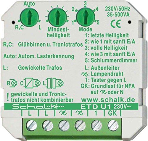 Universal-Tastdimmer, UP, Phasenan- und abschnitt, ETD U2, 0-500W, SCHALK