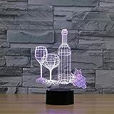 3D Lampe Illusion Optique LED Veilleuse, EASEHOME Optiques Illusions Lampe de Nuit 7 Couleurs Tactile Lampe de Chevet Chambre Table Déco Enfant Lumière avec Câble USB, Coupe et Bouteille de Vin