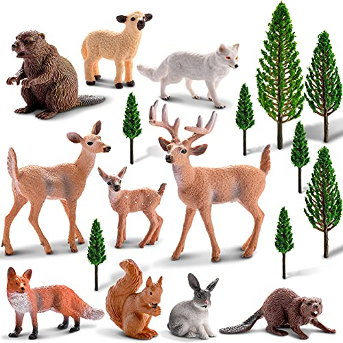 18 Pieces Animals Figurines Toys Model Trees Kit Woodland Miniature Animals Toys Realistic Plastic Wild Forest Animals for Birthday Party Favor Table Decoration Deer Figurines Playset Cake Toppers
