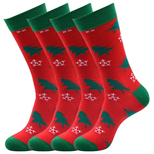 4 Pairs Christmas Women's Cute Ankle Socks, 3D Christmas Santa Comfortable,24X24cm Lightweight Holiday Socks (Red)