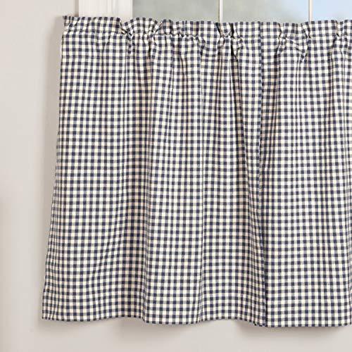 "Piper Classics Doylestown Blue Gingham Check Tier Curtains, Set of 2, 36"" Long, Blue & Cream Checks, Vintage Farmhouse, Country Cottage Café Curtains"