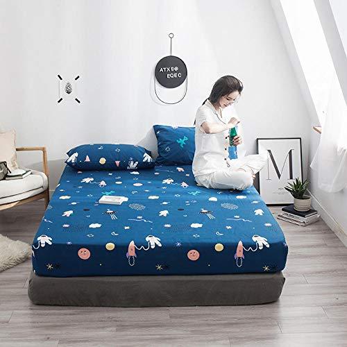 Dibujos Animados Blue Space Astronaut Impreso Sábana Ajustable 1 Pieza Sábana Ropa de Cama 120 * 200 cm 150 * 200 cm 180 * 200 cm Funda de colchón de algodón-Rojo_El 150cmx200cmx25cm