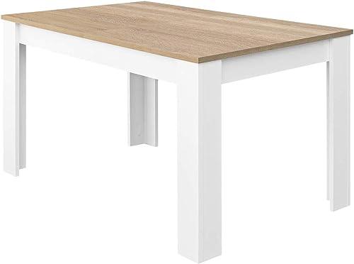 Habitdesign Mesa de Comedor Extensible, Mesa salón o Cocina, Acabado en Color Blanco Artik y Roble Canadian, Modelo K...