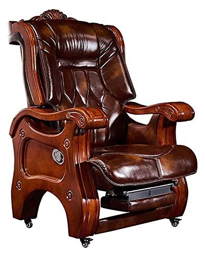 JIAH President Chair Silla de cuero de madera maciza para el hogar, silla ejecutiva reclinable de ante