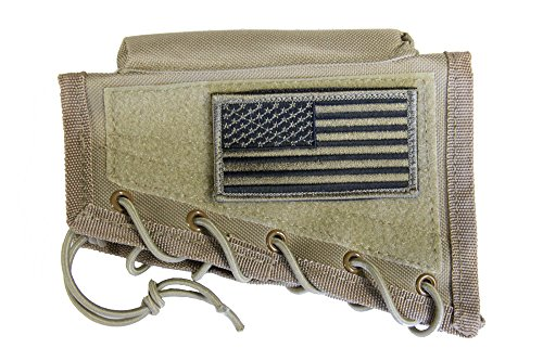 M1SURPLUS Tan Cheek Rest + USA Patriot Flag Morale Patch Fits Remington 700 770 783 798 597 Model Seven 7 Weatherby Vanguard Mark V Savage AXIS A17 A22 10/110 11/111 22 220 64 93 Mark I II Rascal