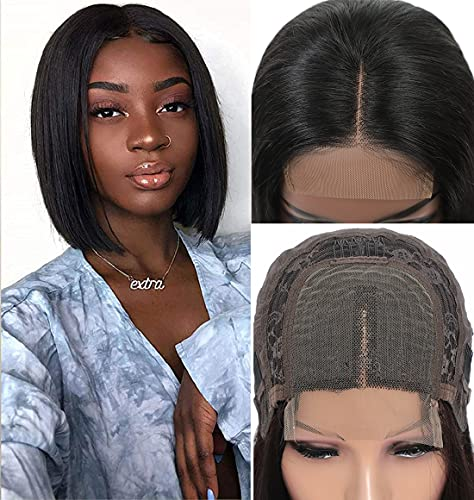 Short Bob Wigs Human Hair Lace Closure Wigs 10A Brazilian Virgin Human Hair Straight Bob lace Front Wigs For Black Women Pre Plucked with Baby Hair 4X1 lace frontal wigs Natural Black 8 inch