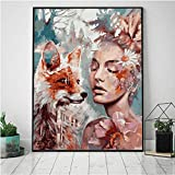 agwKE2 Posters Modern HD Printed Wall Art Canvas Portrait Sexy Women with Fox Flowers Modular Pictures 1 Set Paintings Home Decoration 50x70cmx1 unframed
