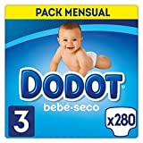 Dodot Pañales Bebé-Seco Talla 3 (6-10 kg), 280 Pañales con Protección Antifugas, Pack Mensual