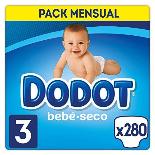 DODOT Bebé-Seco - Pañales Talla 3, 280 Pañales, El Unico Pañal Con Canales De Aire, 6-10kg