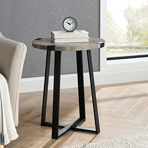 WE Furniture Rustic Farmhouse Round Metal Side End Accent Table Living Room, 18 Inch, Grey