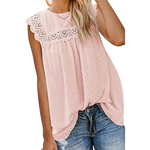 Mayntop Camiseta sin mangas de manga corta para mujer, A-rosa, 42
