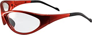 Global Vision Reflex Padded Motorcycle Safety Sunglasses Orange Frame Clear Lens ANSI Z87.1