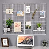 Kaforise Wire Wall Grid Panel, Multifunction Painted Photo Hanging Display and Wall Storage Organizer, Pack of 2, Size 25.6' x 17.7' White
