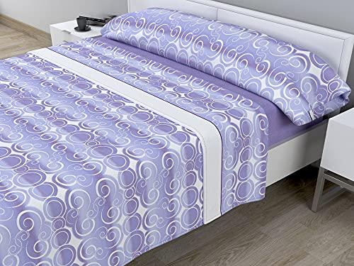 Juego de sábanas térmicas de Pirineo - 3 Piezas - 110 Gr/m2 - Mod. VENEG (Malva, Cama de 150 cm (150_x_190/200 cm))