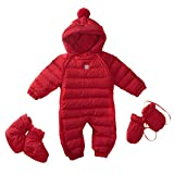 Bebone Newborn Baby Hooded Winter Puffer Snowsuit with Shoes and Gloves (RED,3-6M)