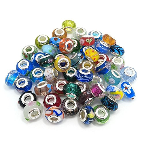 50pcs Silver Color Core Murano Lampwork Glass Beads fit Charms Bracelet DIY