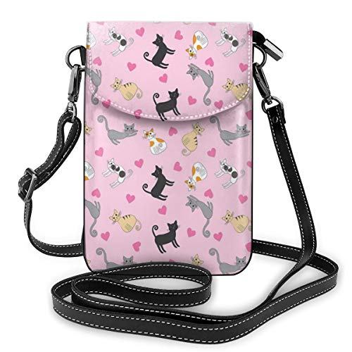 Jiger Women Small Cell Phone Purse Crossbody,Cats In Different Colors And Patterns Among Pink Hearts Resting Happy Stretching