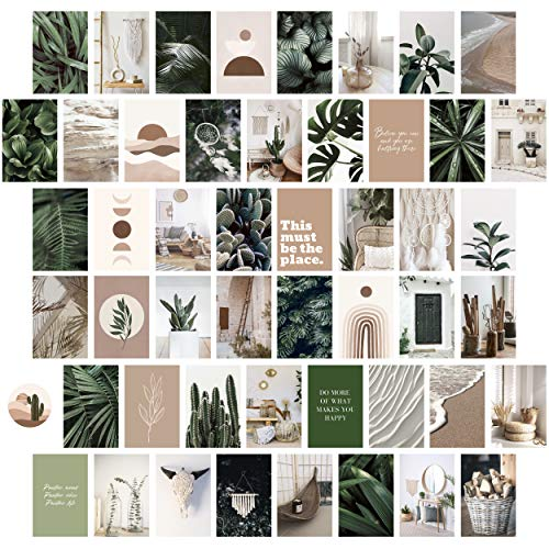 Heather & Willow Photo Collage Kit for Wall Aesthetic Pictures 50 Set 4x6 Inch   Boho Cottagecore Indie Room Decor   Cute Wall Art for VSCO Girls   Pink Teen Girls Bedroom Decor - Boho Forest