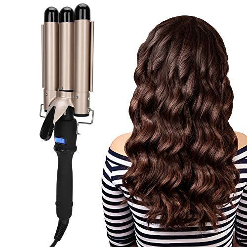 Lockenstab mit 3 Bars, elektrische Lockenwickler aus Keramik für langes oder kurzes Haar, Haarwelle, langanhaltende Frisur (LCD DCT 32 mm, Gold)