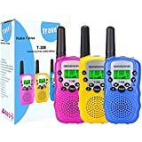 Qianghong T3 Kids Walkie Talkies 3-12 Year Old Children's Outdoor Toys Mini Two Way Radios UHF 462-467 MHz Frequency 22 Channels - (Pink&Yellow&Blue)
